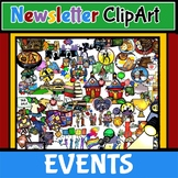 Newsletter Bulletin ClipArt! School Events and Special Schedule! 140+ BW/Color