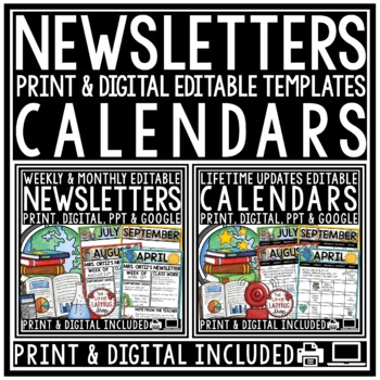 Editable Calendar 2017-2018 & Newsletter Template Editable BUNDLE