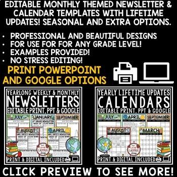 Editable Calendar 2017-2018 & Newsletter Template Editable BUNDLE