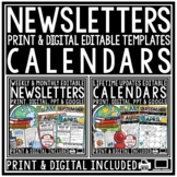 Editable Monthly Calendar 2018-2019 & Weekly Newsletter Template Editable BUNDLE