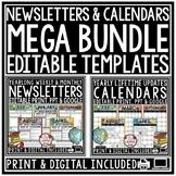 Digital Weekly Newsletter Template, Editable Calendar 2020