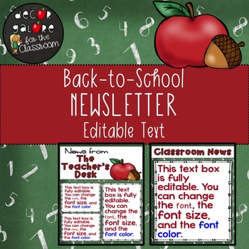 Newsletter EDITABLE Text - Back-to-School / Apple Decor