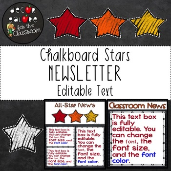 Newsletter EDITABLE Text - Chalkboard Stars Decor