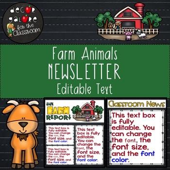 Newsletter EDITABLE Text - Farm Animals Decor