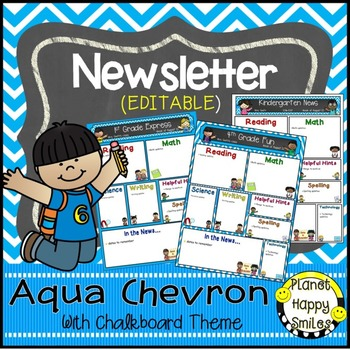 Newsletter (Editable) Aqua and Chalkboard Theme