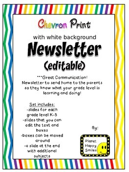Newsletter (Editable) ~ Chevron Rainbow Print with white background