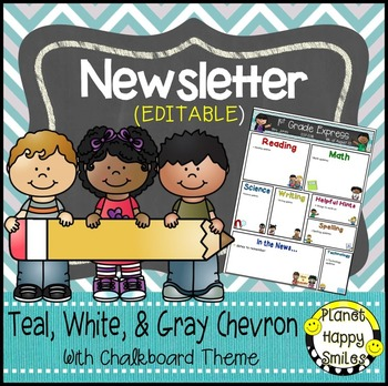Newsletter (Editable) Teal and Chalkboard Theme