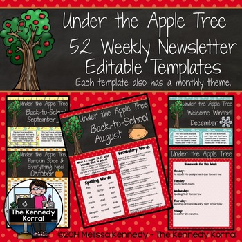 52 Weekly Editable Newsletter Templates {Apples}