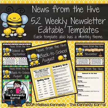 52 Weekly Editable Newsletter Templates {Hive / Bees}