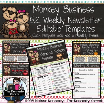 Editable Newsletter Template: Monkeys