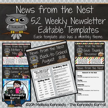 52 Weekly Editable Newsletter Templates {Owls}