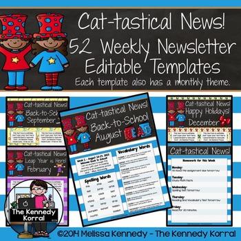 Editable Newsletter Template: Cat-tastical