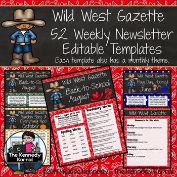 52 Weekly Editable Newsletter Templates {Western / Cowboy}