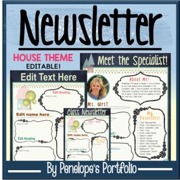 Classroom Newsletter and Meet the Teacher- House Chalkboard Theme