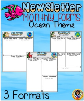 Newsletter Monthly Forms {Ocean Theme}