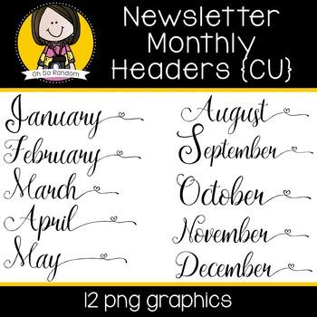 Newsletter Monthly Headers | CU