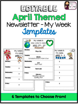 Newsletter (My Week) Editable Templates - April