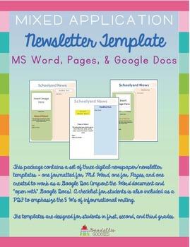 Newsletter/Newspaper Templates (Digital) for Elementary Students