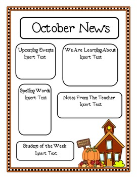 Editable Newsletter Template Schoolhouse