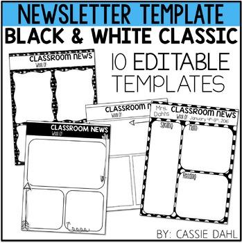 Black & White Classroom Newsletter