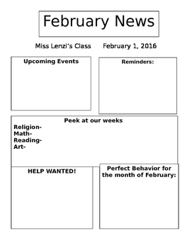 newsletter template by leah s teacher store teachers pay teachers