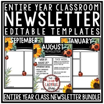 Ladybug Theme Classroom Monthly & Weekly Newsletter Template Editable
