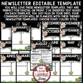 Camping Theme Newsletter Monthly & Weekly Newsletter Template Editable
