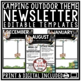 Camping Theme Classroom Newsletter Monthly & Weekly Newsletter Template Editable