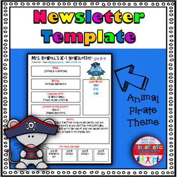 Newsletter Template Editable Animal Pirates