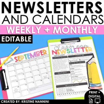 Newsletter Template Editable - Calendar - Parent Communication