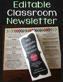 Newsletter Template - Editable Classroom Newsletter Brochure {Chalkboard Theme}