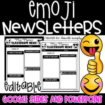 Newsletter Template, Emoji Decor --2 Design Options EDITABLE