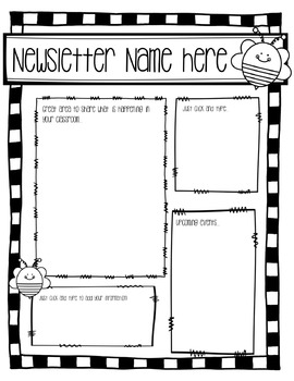 Newsletter Template (Fillable) - Busy Bee