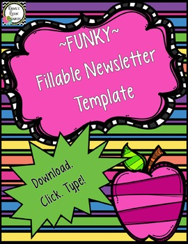 Newsletter Template Fillable Funky By Rachel S Rockin Resources