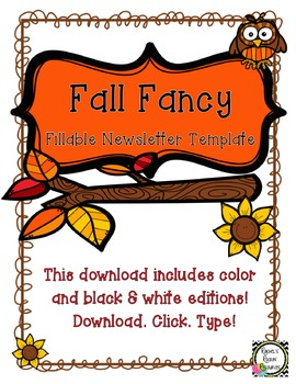 Newsletter Template (Fillable) - Fall Fancy
