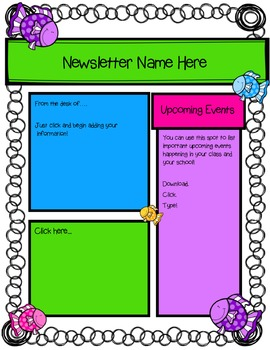 Newsletter Template (Fillable) - Funny Fish