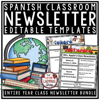Spanish Newsletter Classroom Monthly  Weekly Newsletter Template