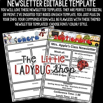 Spanish Newsletter Classroom Monthly & Weekly Newsletter Template Editable