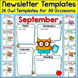 Monthly Newsletter Template Editable - Smarty Pants Owls Theme