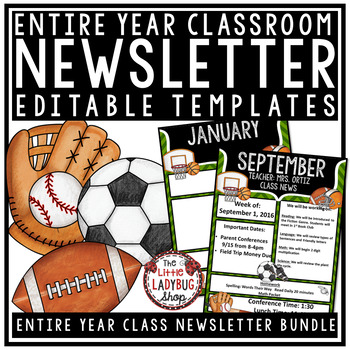 Sports Theme Classroom Monthly  Weekly Newsletter Template Editable