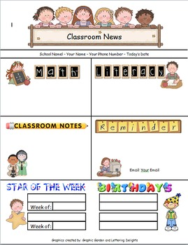 Newsletter Template for Primary Grades