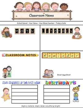 Newsletter Template for Primary Grades-SPECIAL REQUEST