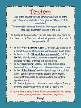 Newsletter Template for Teachers - (The Walshie Workshop)