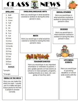 Newsletter Template for the Creative Teacher (microsoft word version)