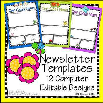 Class Newsletters Editable 12 Different Fun Designs Full Color, Black & White