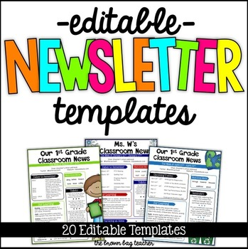 editable newsletter templates by catherine reed the brown bag teacher. Black Bedroom Furniture Sets. Home Design Ideas