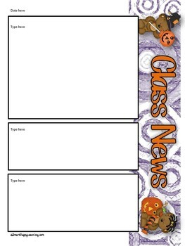 Newsletter Templates - Bear Halloween October Themed