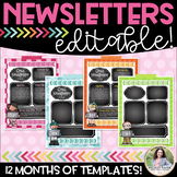 Newsletter Templates {Chalkboard Style Editable Monthly Te
