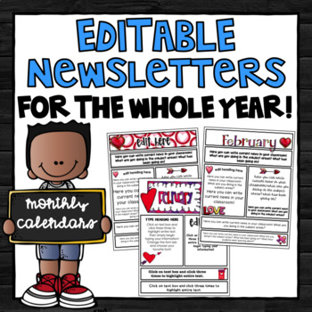 Newsletter Templates EDITABLE Newsletters for the Whole Year