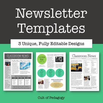Newsletter Templates  Editable By Cult Of Pedagogy  Tpt